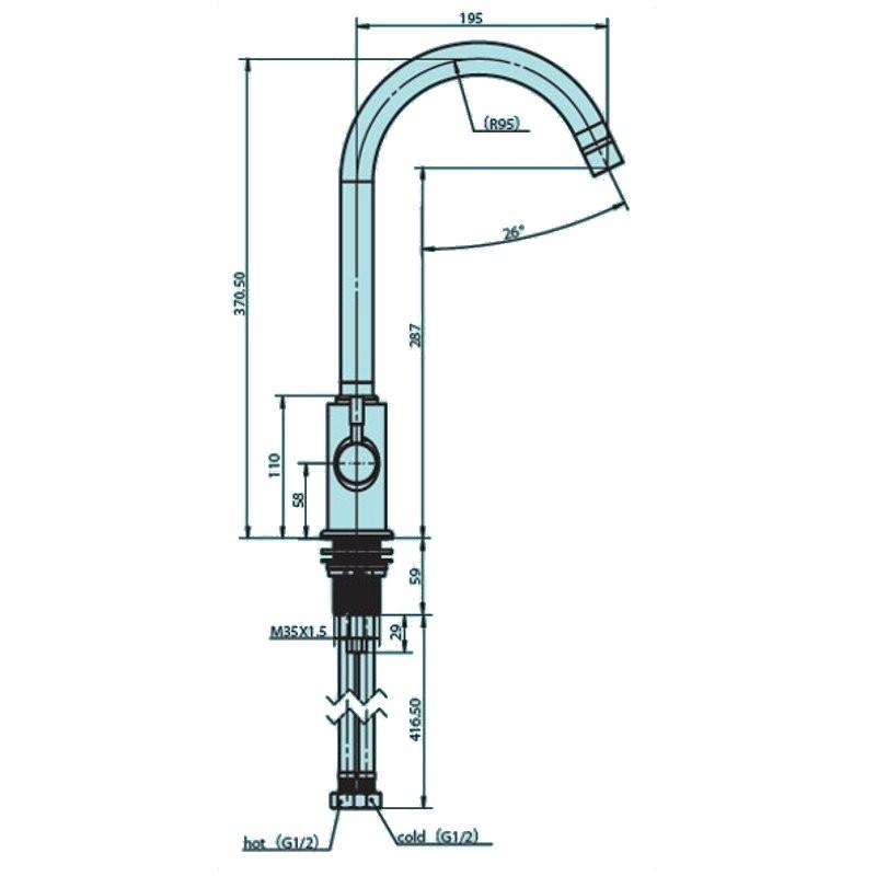Aquaphor C125 ανοξείδωτη μπαταρία (βρύση) κουζίνας τριών παροχών